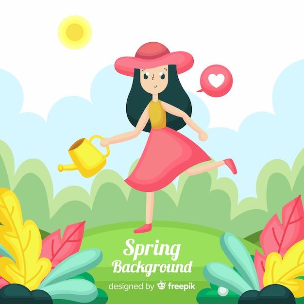 Fundo plano de primavera Vetor grátis
