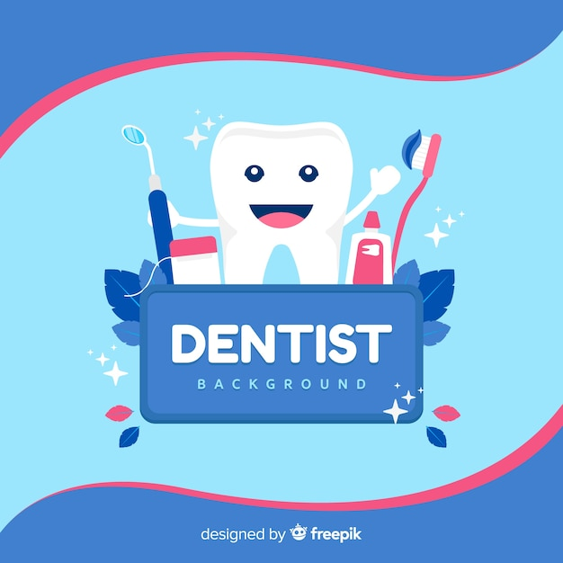Fundo plano dentista Vetor grátis