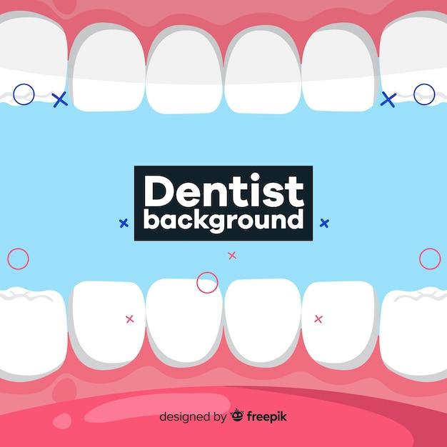 Fundo plano dentista Vetor Premium