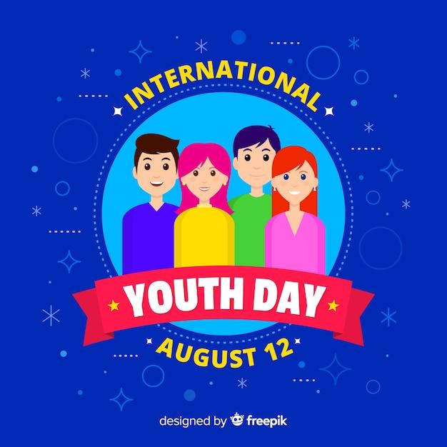 Fundo plano do dia da juventude Vetor grátis
