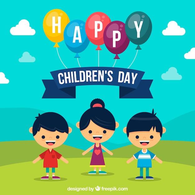Fundo plano do dia das crianças Vetor grátis