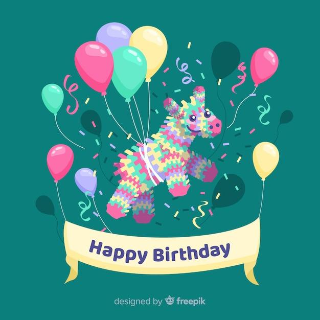 Fundo plano feliz aniversário com balões Vetor grátis