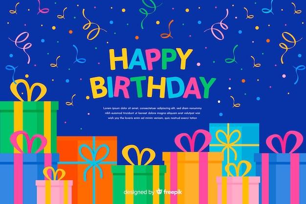 Fundo plano feliz aniversário Vetor grátis