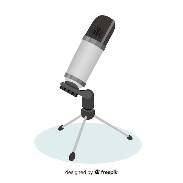 Fundo plano microfone realista Vetor grátis