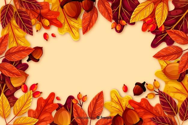 Fundo plano outono com folhas Vetor grátis