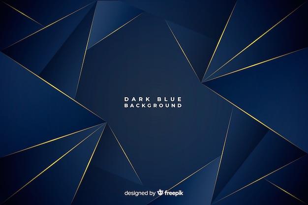 Fundo poligonal azul escuro com linhas douradas Vetor grátis
