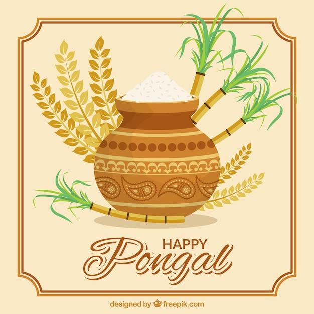 Fundo pongal fantástica com arroz e cana de açúcar Vetor grátis