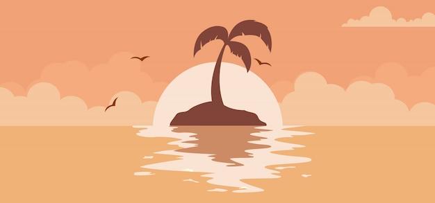 Fundo por do sol lindo de verão com sol na praia Vetor Premium