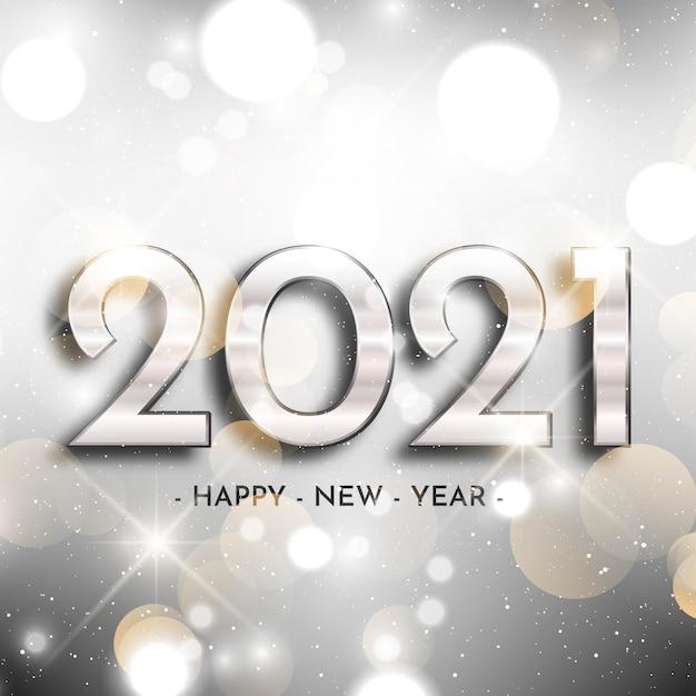Fundo prateado do ano novo 2021 Vetor grátis