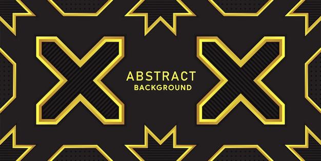 Fundo premium preto e amarelo com linhas de luxo poligonais e ouro. Vetor Premium