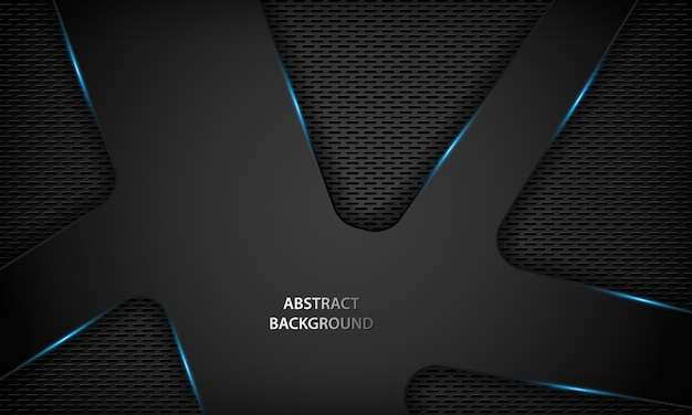 Fundo preto abstrato da tecnologia com metálico azul. Vetor Premium
