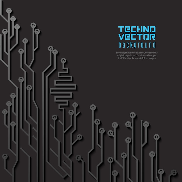 Fundo preto circuito Vetor grátis