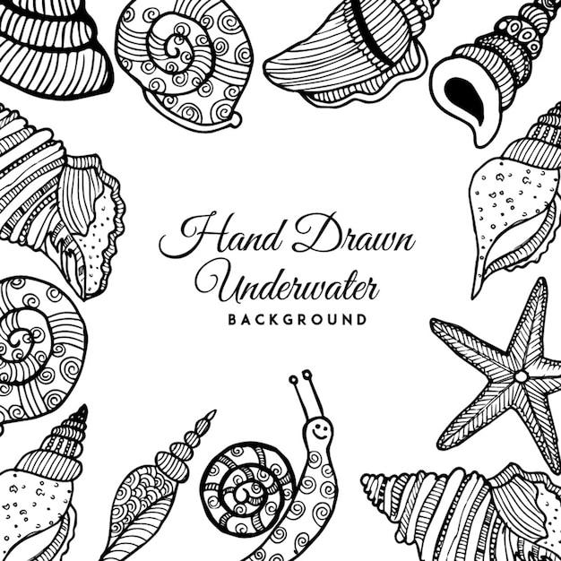 Fundo preto e branco de escudos subaquáticos desenhados a mão em preto e branco Vetor grátis