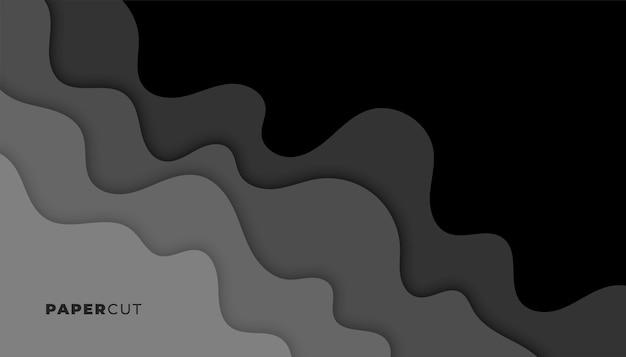 Fundo preto e cinza escuro estilo recorte de papel Vetor grátis