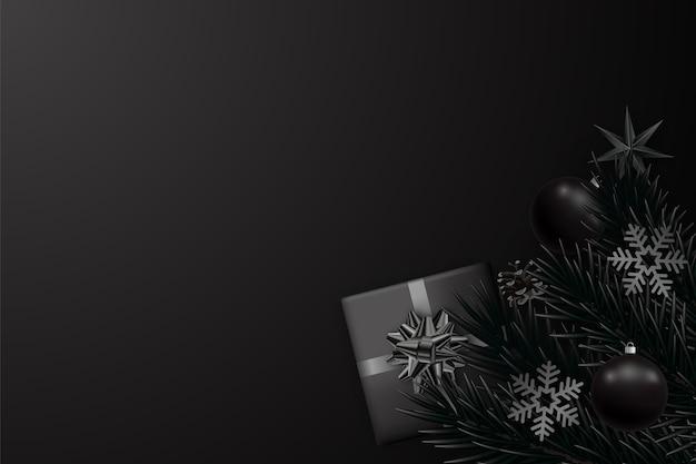 Fundo preto minimalista abstrato para o natal e ano novo. Vetor Premium