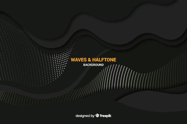 Fundo preto ondas com efeito de meio-tom Vetor grátis