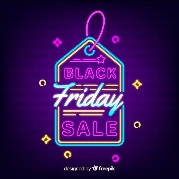 Fundo preto venda sexta-feira com estilo de néon Vetor grátis