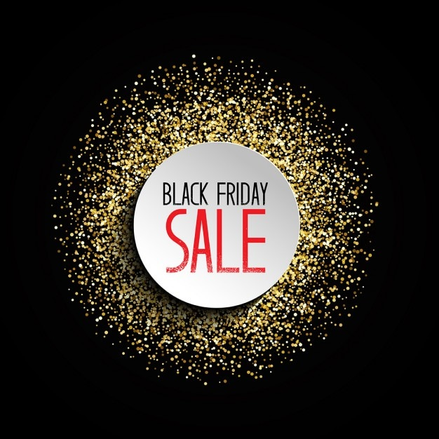 Fundo preto venda sexta-feira com projeto do brilho do ouro Vetor grátis