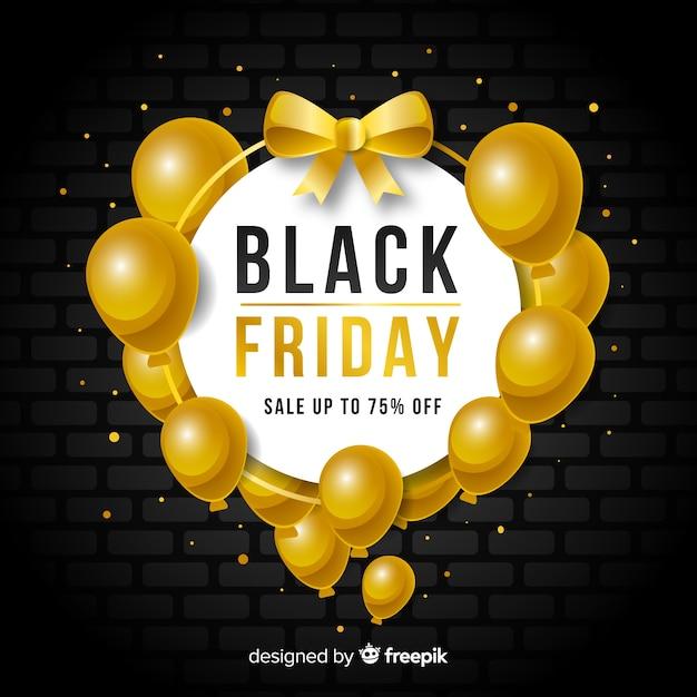 Fundo preto vendas de sexta-feira com balões Vetor grátis