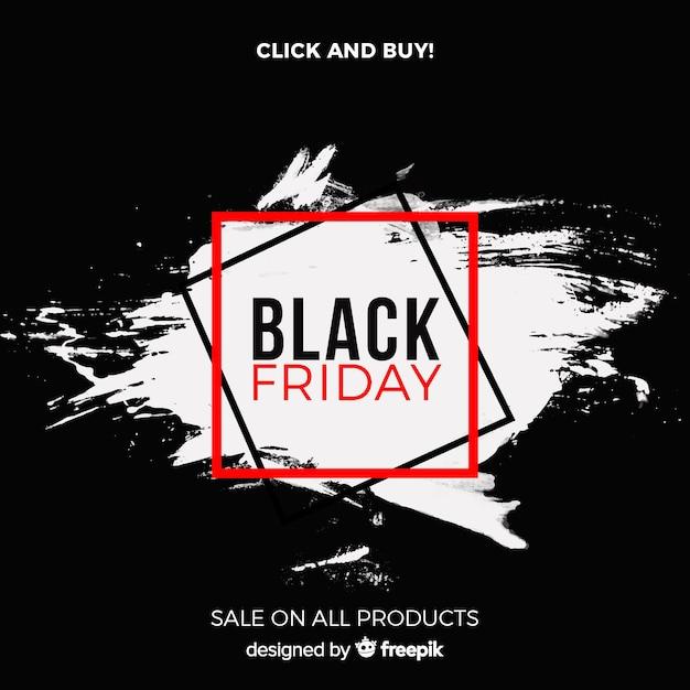 Fundo preto vendas de sexta-feira com manchas de aquarela Vetor grátis