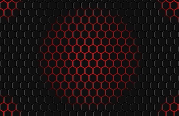 Fundo preto vermelho do hexágono | Vetor Premium