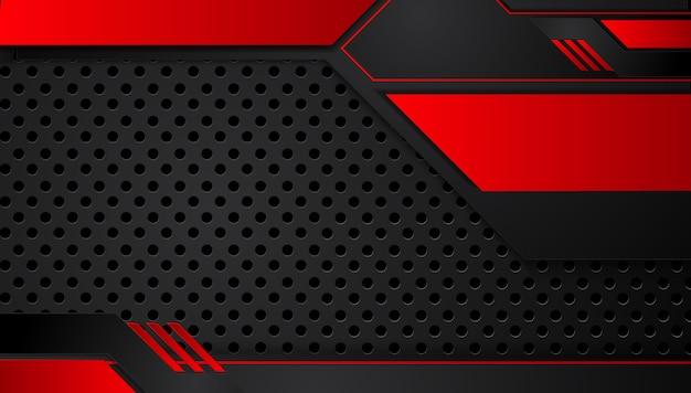 Fundo preto vermelho metálico abstrato com listras de contraste Vetor Premium