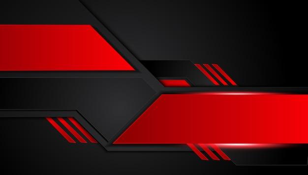 Fundo preto vermelho metálico abstrato com listras do contraste. conceito de inovação de tecnologia gráfica de vetor abstrato Vetor Premium