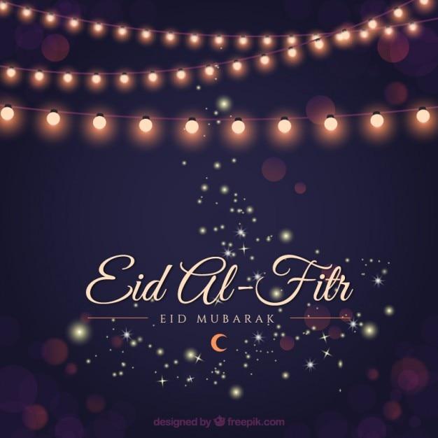 Fundo ramadã elegante com luzes guirlandas Vetor grátis