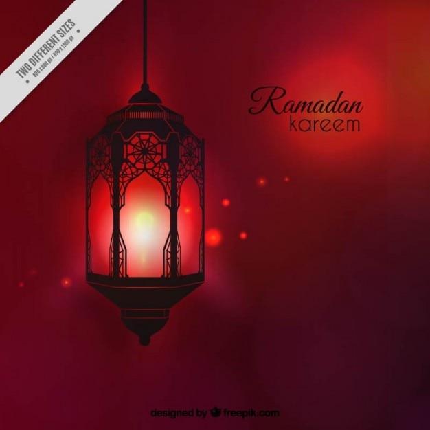 Fundo ramadan vermelho com lanterna iluminated Vetor grátis
