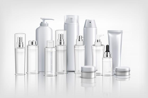Fundo realista com coleção de cosméticos diferentes recipientes tubos e frascos para creme de óleo e bálsamo ilustração Vetor grátis