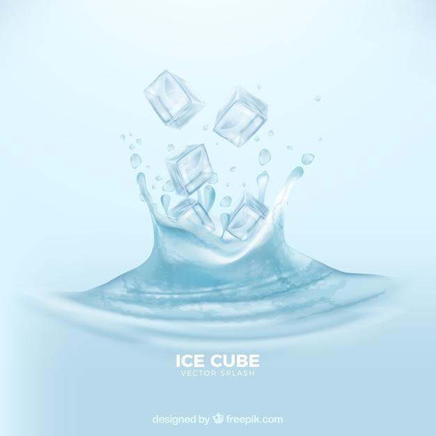 Fundo realista com cubos de gelo e respingos de água Vetor grátis