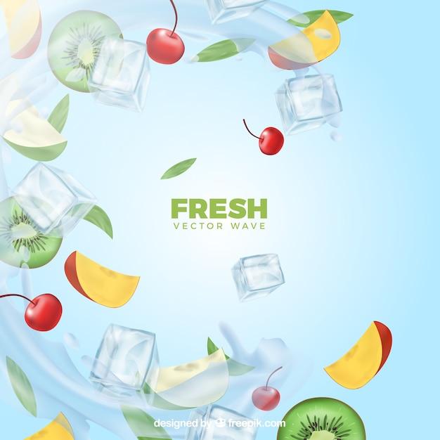 Fundo realista com gelo e ingredientes Vetor grátis
