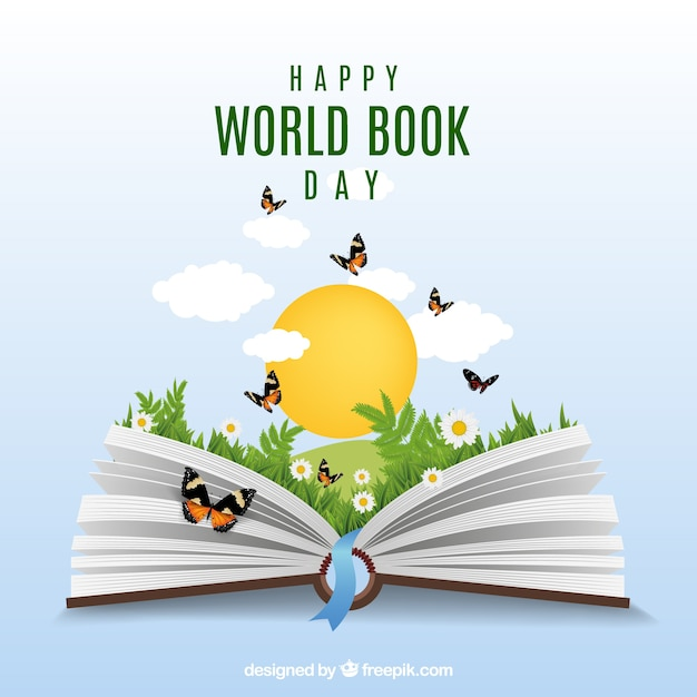 Fundo realista com livro aberto e borboletas Vetor grátis