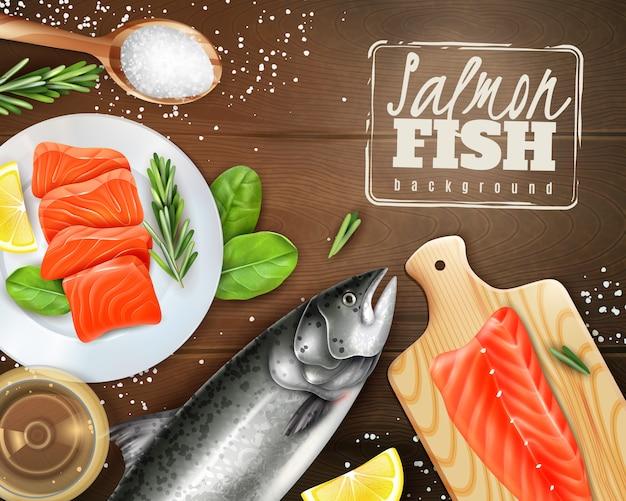 Fundo realista com salmão cru com ervas diferentes na mesa de madeira Vetor grátis