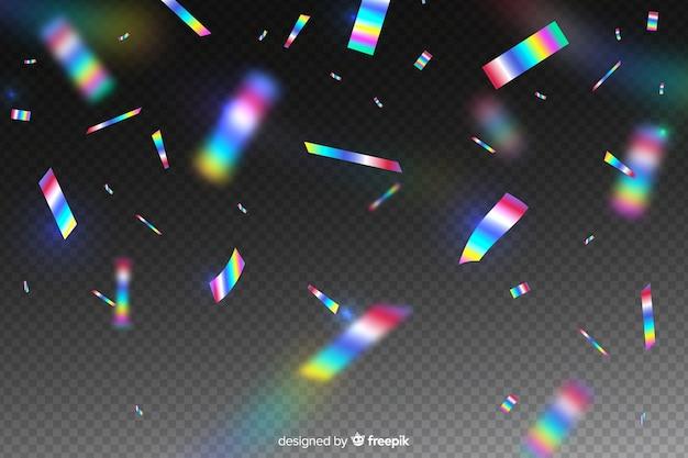 Fundo realista confete holográfico Vetor grátis