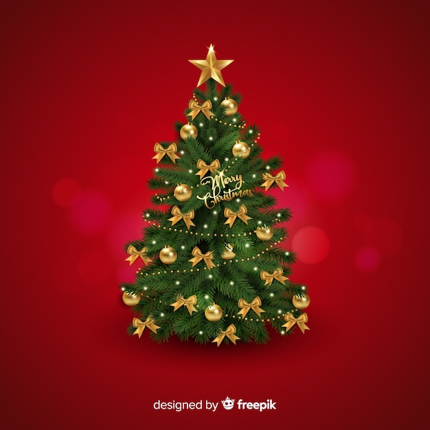 Fundo realista de árvore de natal Vetor grátis