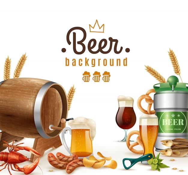 Fundo realista de cerveja Vetor grátis