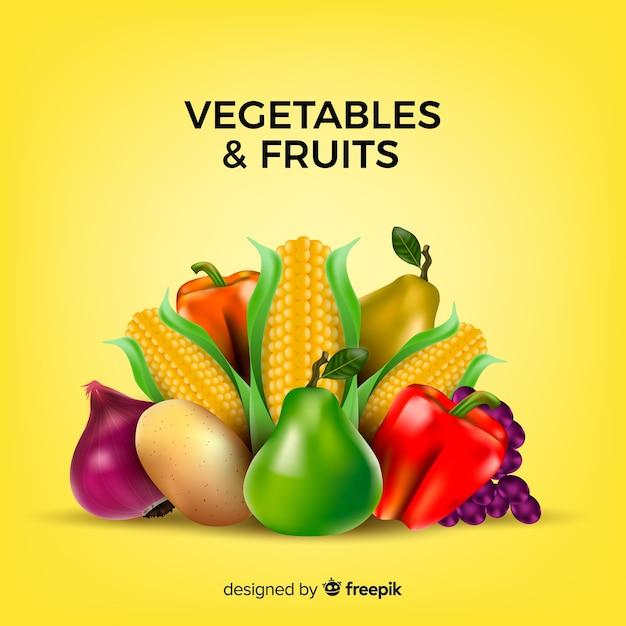 Fundo realista de frutas e legumes Vetor grátis