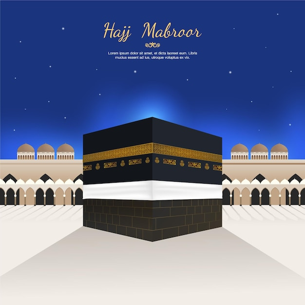 Fundo realista de peregrinação islâmica (hajj) Vetor Premium