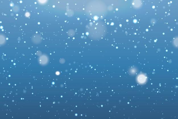 Fundo realista de queda de neve com flocos de neve turva Vetor Premium