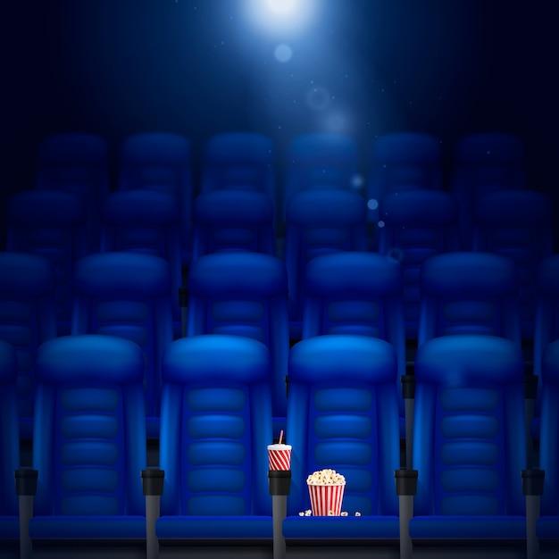 Fundo realista de salão de cinema vazio Vetor grátis