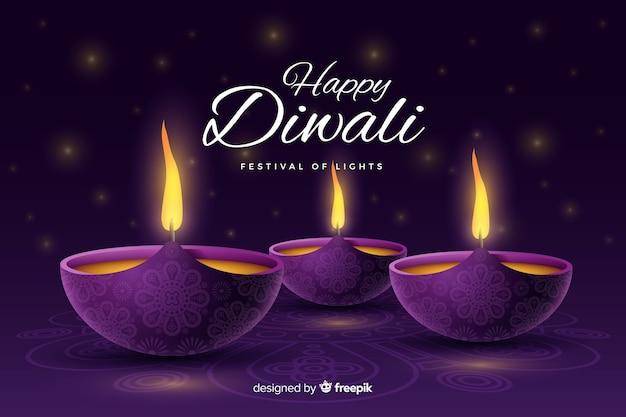 Fundo realista diwali festivo com velas Vetor grátis