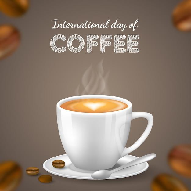Fundo realista do dia internacional do café Vetor grátis