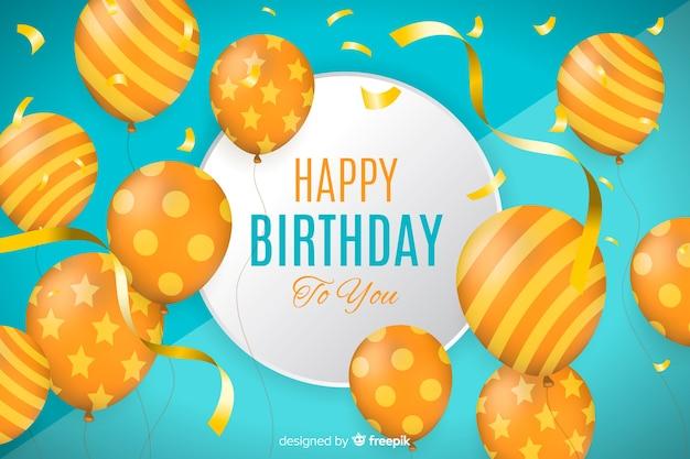 Fundo realista feliz aniversário com balões Vetor grátis