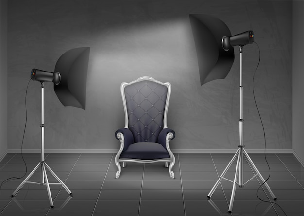 Fundo realista, sala com parede cinza e piso, estúdio de fotografia com poltrona vazia Vetor grátis