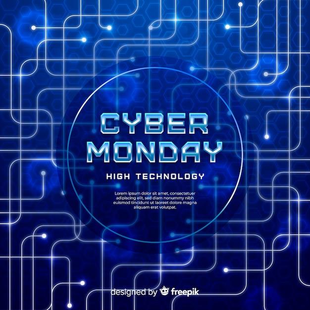 Fundo realista segunda-feira cyber Vetor grátis