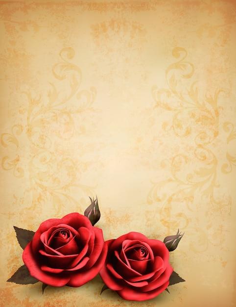 Fundo retrô com lindas rosas vermelhas com botões Vetor Premium