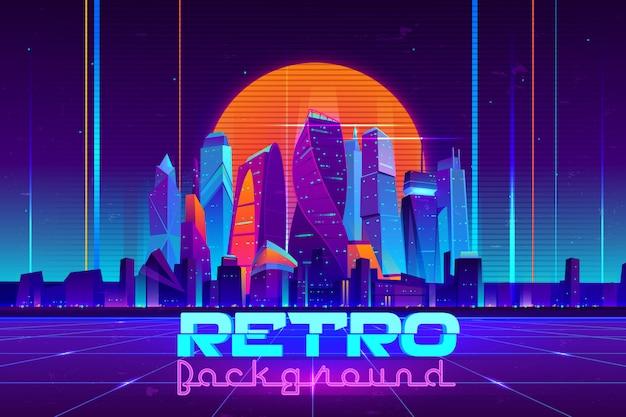 Fundo retrô em desenhos animados de cores de néon com edifícios de arranha-céus da cidade de futuro iluminado Vetor grátis