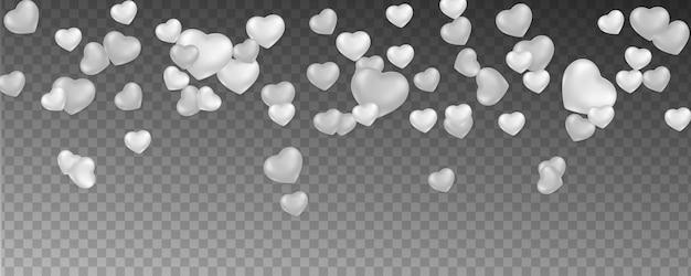 Fundo romântico com corações caindo Vetor Premium