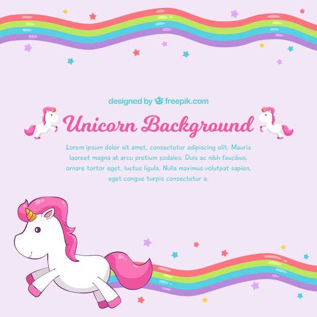 Fundo rosa arco-íris com unicórnio Vetor grátis